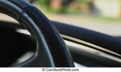 old steering SUV wheel - Slow motion closeup of an old...