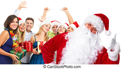 Christmas Santa and a group  of happy people.