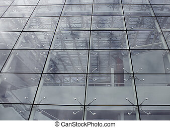 Glass facade in modernist building, architecture design