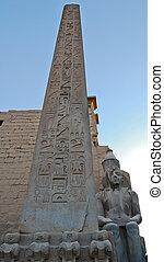 Obelisk and statue of Ramses II