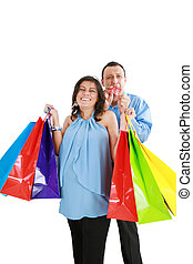 Woman want to go shopping, husband is angry. Focus in the...