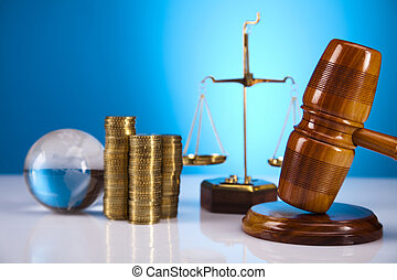 Law and golden coins concept - Law and justice concept in...
