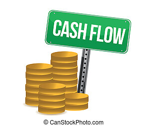 cash flow and signs over white background design over white