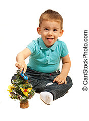 Cute toddler boy playing - Cute toddler boy with tongue out...