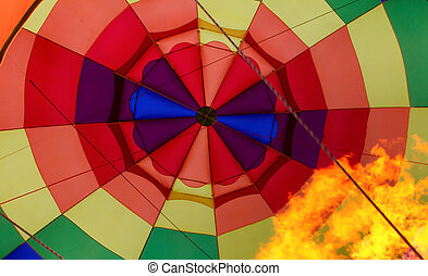 Inflating Hot Air Baloon in Vivid Color.