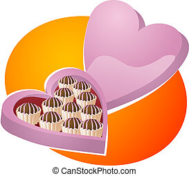 Heart-shaped box of chocolates. Valentines illustration