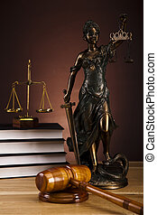 Antique statue of justice,law - Law and justice concept in...