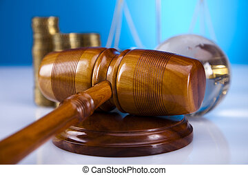 Judge gavel, coins and globe - Law and justice concept in...
