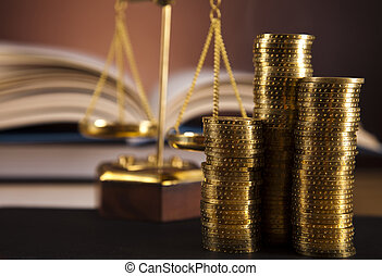 Scales of Justice and coins - Law and justice concept in...