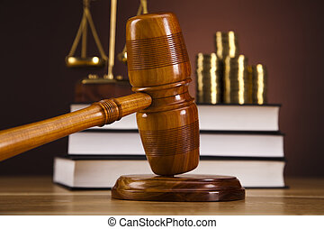 Law and money concept,coins - Law and justice concept in...