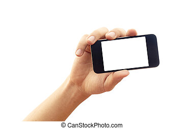 isolated hand holding smartphone or phone, two clipping path...