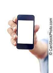 man hand holding smartphone or phone - man hand is holding...