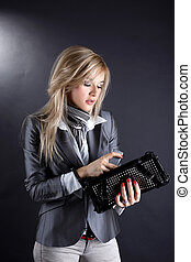 fashion young woman with clutch bag