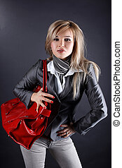 fashion young woman with red bag