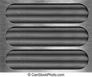 three holes in metal plate over grid background