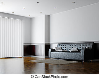 Black sofa with a white pillows near the wall