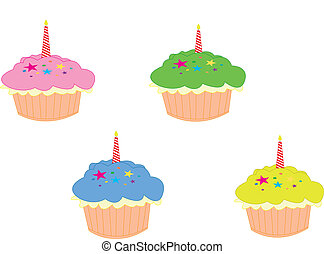 Cake - Set of colored birthday cake