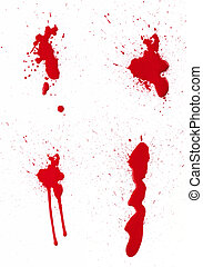 Blood Spatter III - A composite of 4 wet red paint blood...