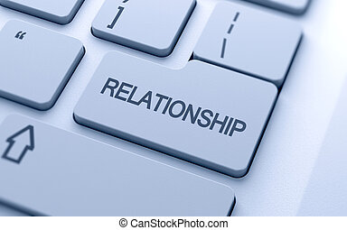 Relationship word button on keyboard with soft focus