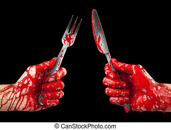 Hungry for Blood - A bloody pair of hands holding a knife...