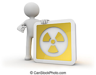 nuclear icon - render of a man with a nuclear icon