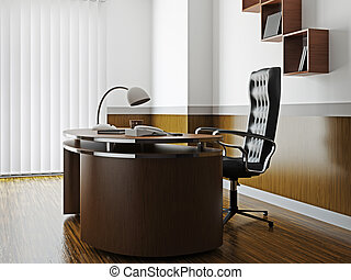 Office with furniture and window - Office with wooden...