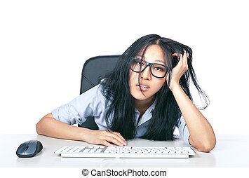 I'm too stressed - A young girl with glasses looking...
