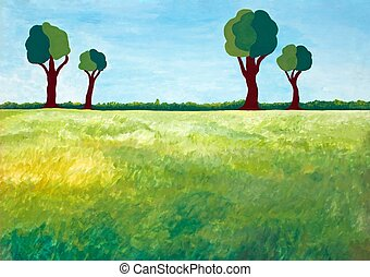 rural landscape, acrylic drawing