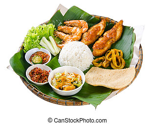 Indonesian traditional food, chicken, fish and vegetables -...