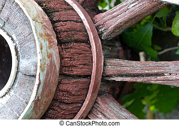 Wagon Wheel - Closeup view of a wooden wagon wheel