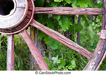 Close-up Wagon Wheel - Closeup view of a antique wagon...