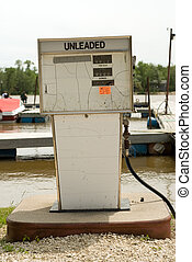 Marine Gas Pump - A gas pump for filling boats, located at a...