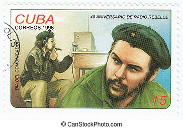 vintage cuba stamp with Ernesto Che