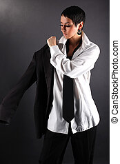 woman with white shirt dressing coat