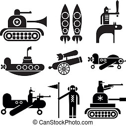 Military Icons - Military icons set. Isolated black vector...