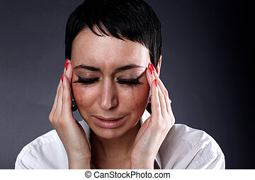 depression, headache woman - depression and headache,...