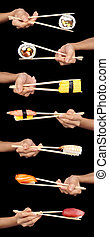 Sushi criss-cross - Set of 7 hands holding various types of...