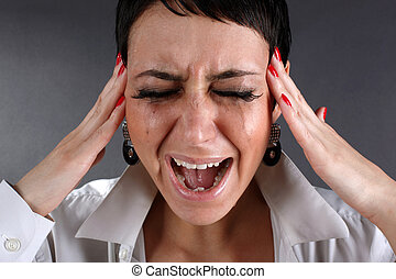 dor, depressão, -, gritando, mulher, lágrimas