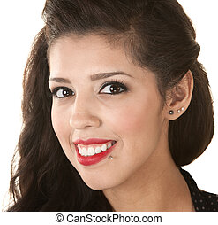 Beautiful Woman Head Shot - Head shot of attractive Latino...