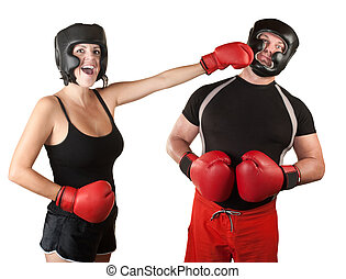 Laughing Lady Boxer Punches Man