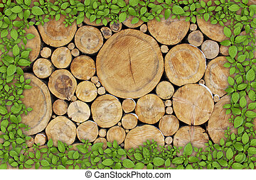 Stacked Logs Background with ying yang