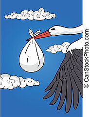 Flying stork with baby