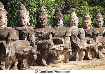 Giants in Front Gate of Angkor Thom, Cambodia
