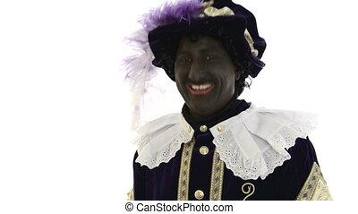 Zwarte Piet is very happy, laughing
