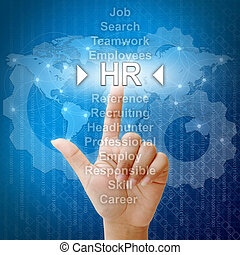 HR,Business concept in word for Human resources