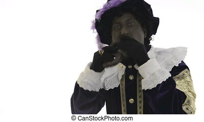 Zwarte Piet is eating chocolate