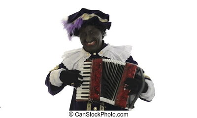 Zwarte Piet is making music with a accordion on a white...