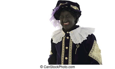 Zwarte Piet is waving goodbye on a white background