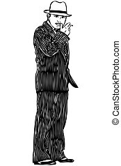 man with moustaches in the striped suit smokes