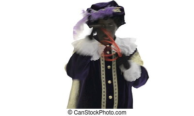 Zwarte Piet is doing a magic trick on a white background
